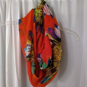 Watercolor Daisy Orange Infinity Scarf